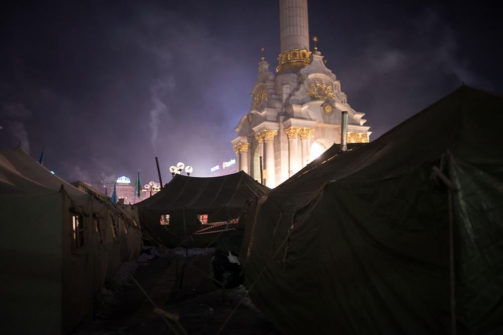 Soviet army veterans, who served in Afghanistan, erected tents in Maidan Square in support of the protest movement.