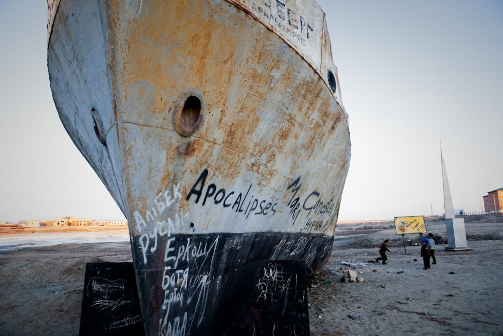 The Lev Berg, named after a Soviet geographer of Central Asian lakes, sits rusting in the dry harbor of the town of Aral.