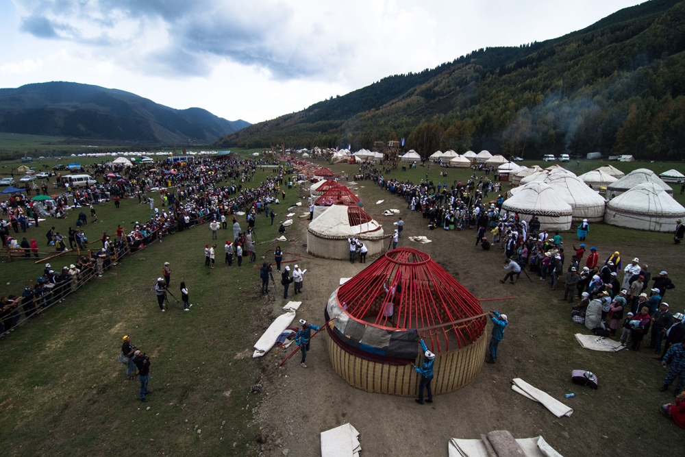 A yurt-building race. Traditional yurts (aka gers) have been used as dwellings by nomads across the Asian steppes.