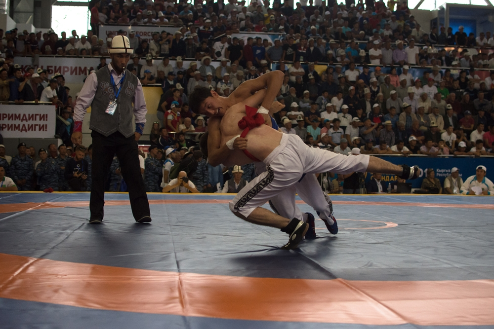 A traditional wrestling competition at the sports arena.