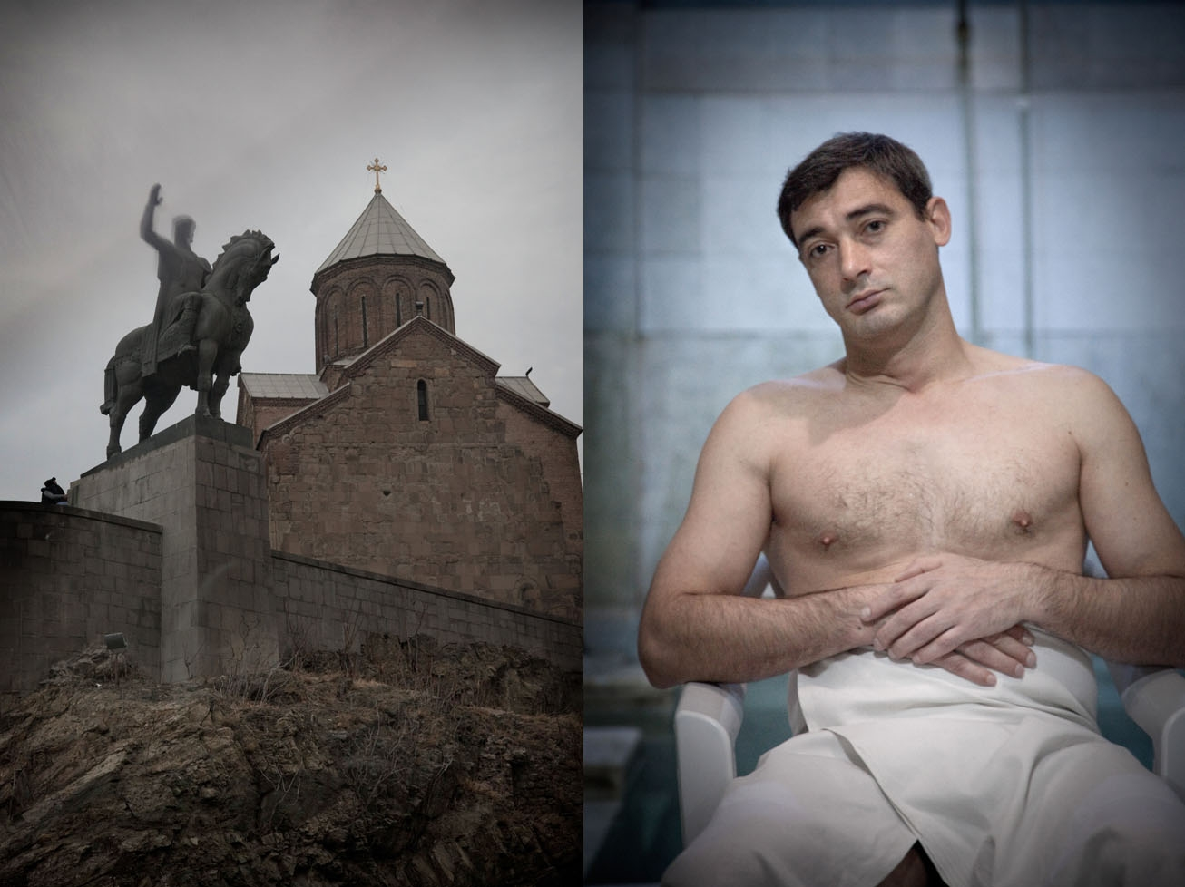 The statue of King Vakhtang Gorgasali overlooks the bath district (l). Masseur Emzar Gassimov works at the bathhouse Sulfur.