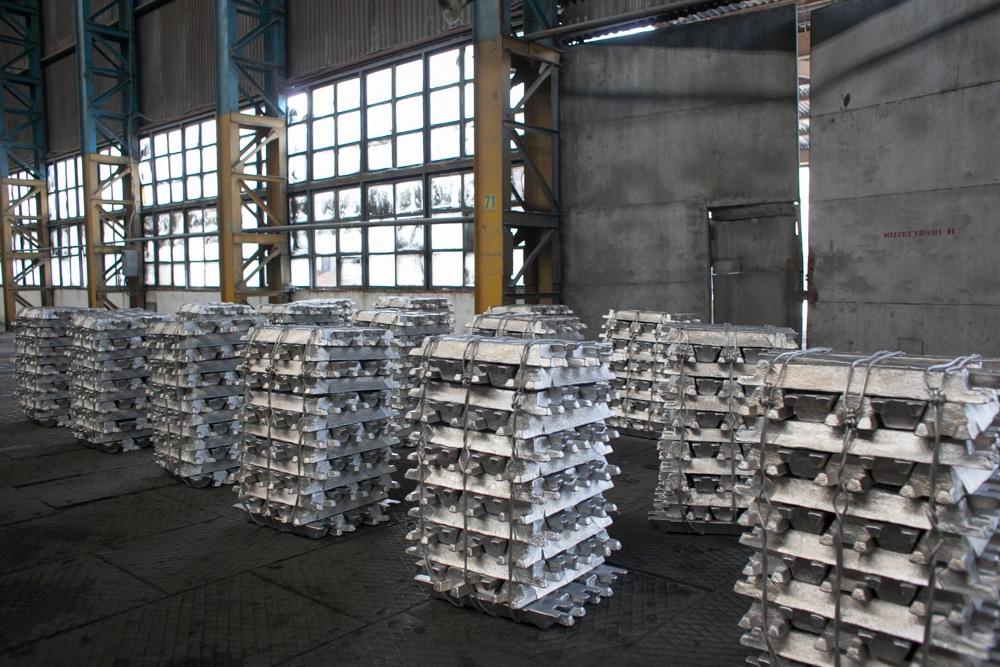 Aluminum ingots ready for shipment.