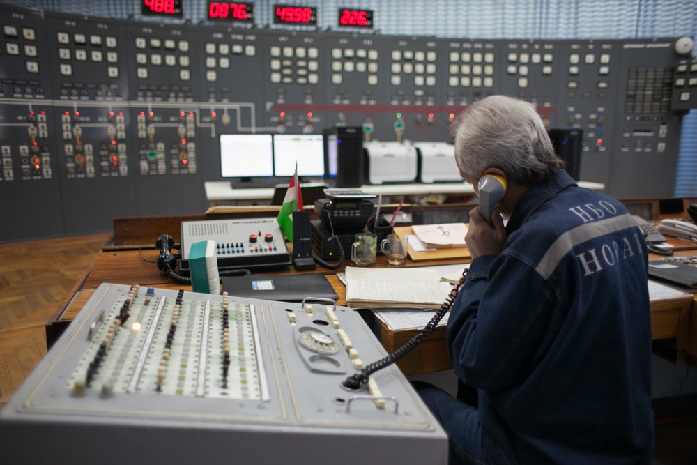 Inside the control room at the Nurek hydropower station, beneath the tallest dam in the world.