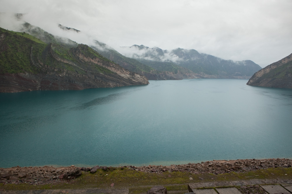The Nurek reservoir in late April. Tajikistan suffers extensive blackouts, especially in winter, when the reservoir is low.