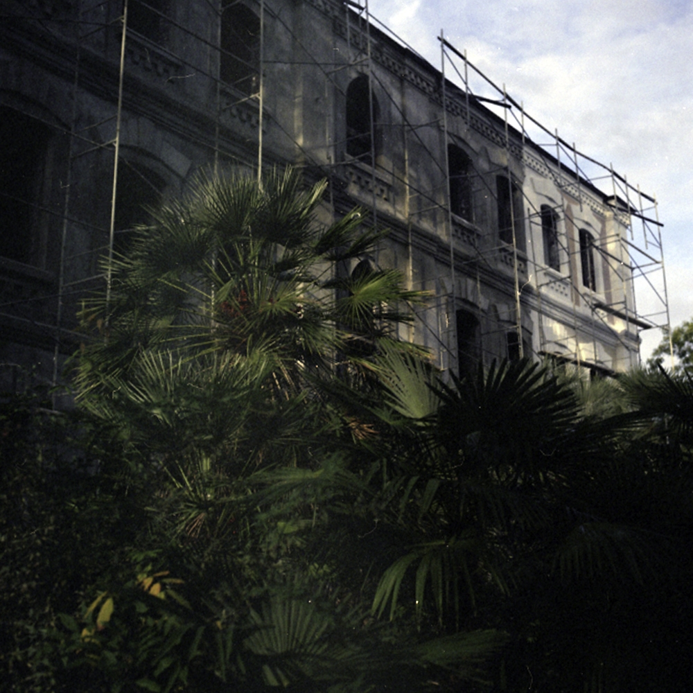 Palm trees and scaffolding surround a building still undergoing repairs to its facade.