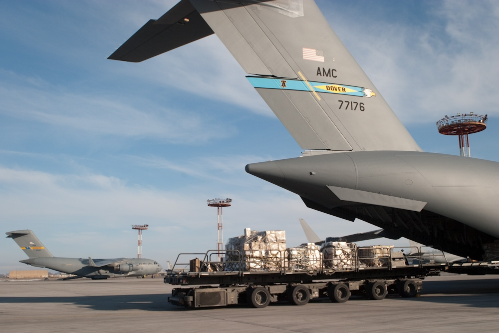 A US Air Force C-17 Globemaster is loaded with cargo at Manas airbase near Bishkek. (Photo: David Trilling)