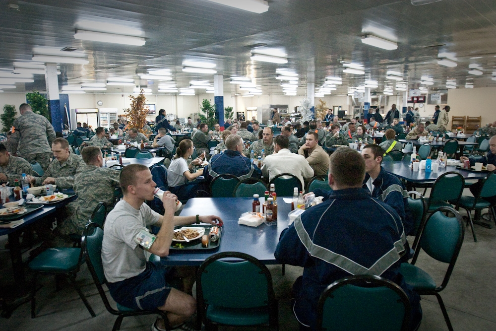 The chow hall at the airbase served 756,000 meals in the last six months of 2008. (Photo: David Trilling)