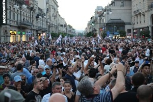 Hundreds gathered in Aghmashenebeli Avenue, a tsarist-era throughfare in downtown Tbilisi, to protest against Muslim migrants.